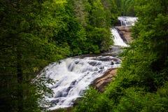 Vista de caídas triples, en bosque del estado de Du Pont, Carolina del Norte Foto de archivo libre de regalías