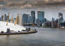 Vista de Canary Wharf del Millennium Dome, Londres Fotografía de archivo libre de regalías