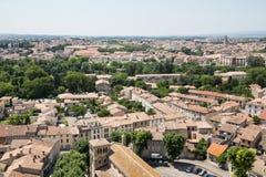 Vista de Carcasona de la fortaleza - Languedoc Foto de archivo