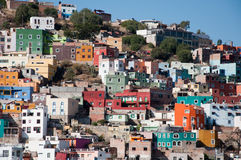 Vista de casas coloridas. Guanajuato fotografia de stock royalty free