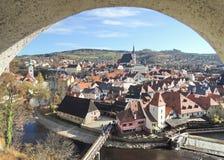 Vista de Cesky Krumlov na república checa Fotografia de Stock