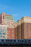 Vista de Chicago y de rascacielos de centro en Chicago céntrica, Illinois, los E.E.U.U. foto de archivo libre de regalías