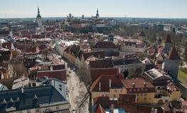 A vista de cima dos telhados do Tallinn medieval Fotos de Stock