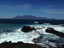 Vista de Ciudad del Cabo de la isla de Robben Imágenes de archivo libres de regalías