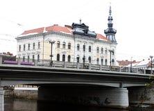 Vista de Cluj Napoca con el palacio de Babos imagen de archivo