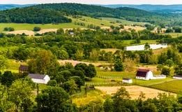 Vista de colinas y de tierras de labrantío en Piamonte de Virginia, vista de parque de estado de los prados del cielo Imágenes de archivo libres de regalías