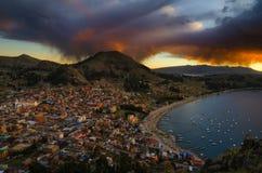 Vista de Copacabana en la colina de Carvallo Imagen de archivo