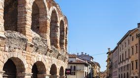Vista de di Verona Roman Amphitheatre antigo da arena foto de stock
