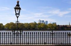 Vista de Docklands de Greenwich Imagen de archivo libre de regalías