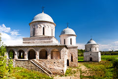 Vista de duas igrejas em Ivangorod Fotografia de Stock