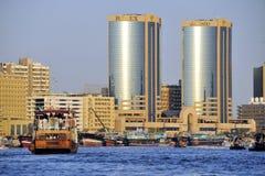 Vista de Dubai Creek Imagen de archivo