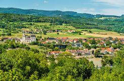 Vista de Emmersdorf un der Donau de la abadía de Melk, Austria Imagen de archivo