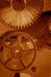 Vista de engranajes del viejo mecanismo Imagen de archivo