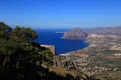 Vista de Erice (Sicília) Imagem de Stock