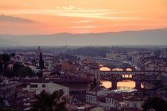 Vista de Florencia y del río de arno Imagen de archivo libre de regalías