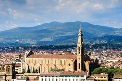 Vista de Florencia y de la capilla de Pazzi, Italia fotos de archivo