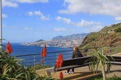 Vista de Garajau que olha para Funchal, Madeira Fotografia de Stock