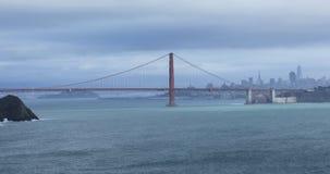 Vista de golden gate bridge e de San Francisco 4K video estoque