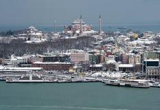 Vista de Hagia Sophia Ä°stanbul de la torre de Galata Imágenes de archivo libres de regalías