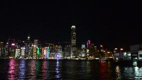 Vista de Hong-Kong por noche almacen de metraje de vídeo