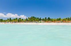 Vista de invitación que sorprende del jardín tropical, playa con la relajación de la gente, nadando Foto de archivo libre de regalías