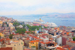 Vista de Istambul da torre de Galata Fotos de Stock Royalty Free