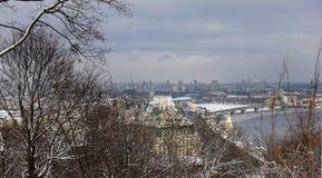 Vista de Kiev e o Dnieper da montanha fotografia de stock