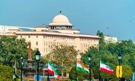 Vista de Krishi Bhavan, un edificio gubernamental en Nueva Deli, la India imagen de archivo