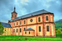 Vista de la abadía en el departamento de los Vosgos - Francia de Moyenmoutier Fotos de archivo