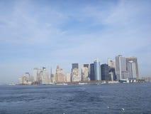 Vista de la bahía céntrica de la parte superior de la forma de Manhattan Fotografía de archivo libre de regalías