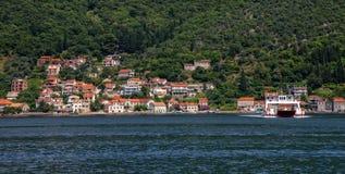 Vista de la bahía de Kotor Fotografía de archivo