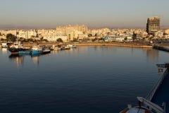 Vista de la bahía del ` s de Larnaca October-12-2017 Fotos de archivo libres de regalías