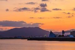Vista de la bahía en la escena de la salida del sol, Aomori, Tohoku, Japón de Aomori foto de archivo libre de regalías