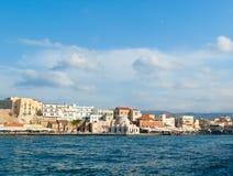 Vista de la bahía veneciana en Chania Foto de archivo libre de regalías