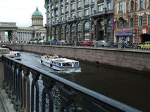 Vista de la catedral de Kazán del canal de Griboyedov Fotos de archivo libres de regalías