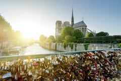 Vista de la catedral de Notre Dame en París con las cerraduras famosas del amor Foto de archivo libre de regalías