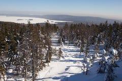 Vista de la charca con las montañas blancas de un Chernoistochinsk del estímulo cerca de Nizhny Tagil Rusia Foto de archivo