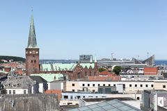 Vista de la ciudad de Aarhus en Dinamarca Imágenes de archivo libres de regalías