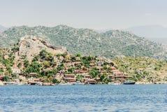 Vista de la ciudad antigua en la isla, Turquía, Demre Fotos de archivo libres de regalías
