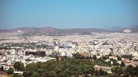 Vista de la ciudad de Atenas almacen de video
