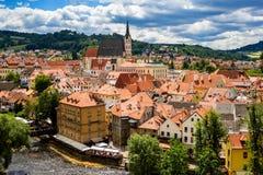 Vista de la ciudad Cesky Krumlov, República Checa Fotos de archivo