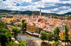 Vista de la ciudad Cesky Krumlov, República Checa Foto de archivo libre de regalías