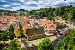 Vista de la ciudad Cesky Krumlov, República Checa Fotografía de archivo