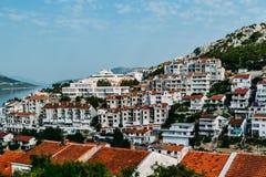 Vista de la ciudad costera de Croacia Imagenes de archivo