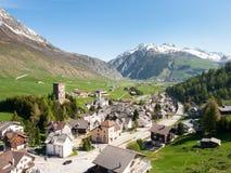 Vista de la ciudad de Andermatt Fotos de archivo libres de regalías