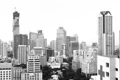 Vista de la ciudad de Bangkok en el camino de Silom y de Sathon Fotos de archivo libres de regalías
