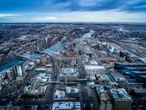 Vista de la ciudad de Calgary imagenes de archivo