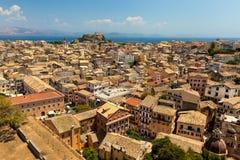 Vista de la ciudad de Corfú. Kerkyra Foto de archivo