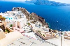 Vista de la ciudad de Fira - isla de Santorini, Creta, Grecia.  Foto de archivo libre de regalías