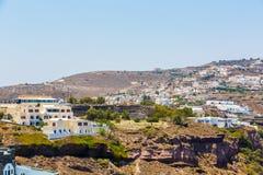 Vista de la ciudad de Fira - isla de Santorini, Creta, Grecia.   Foto de archivo